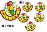6x Raamsticker Adhesive Clown 35x40 cm