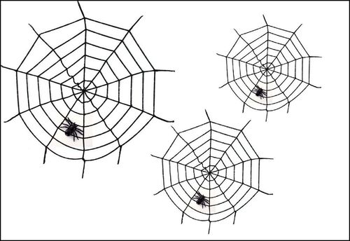 3x Spinnenweb black widow 100cm
