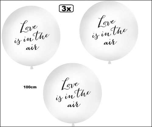3x Mega ballon wit 1 meter Love is in the air