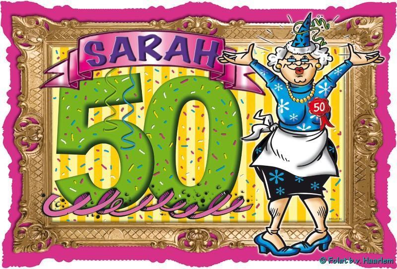 deurbord sarah 50 jaar - themaparty webshop