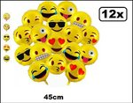 12x Folie ballon Emoticons 45cm