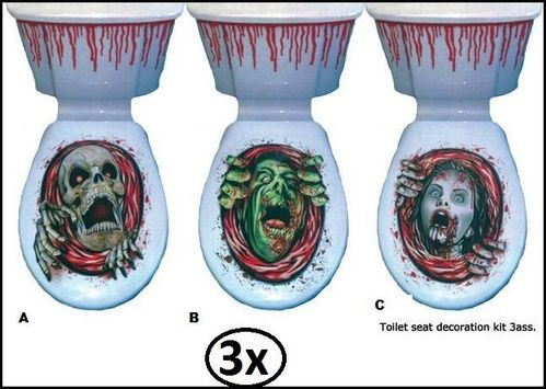 3x Halloween decoratieset Toilet