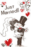 Adhesive raamsticker Just Married 35x55