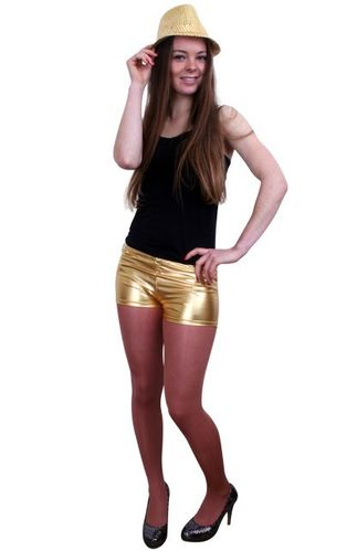 Hotpants metallic goud S/M
