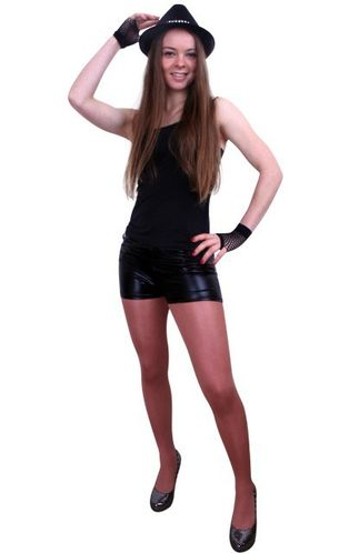 Hotpants metallic zwart S/M