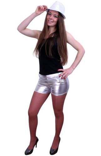 Hotpants metallic zilver S/M