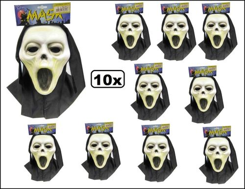 10x Halloween Vynil masker scream + doek kids