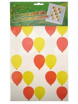 3x Adhesive ballonnen rood/wit/geel