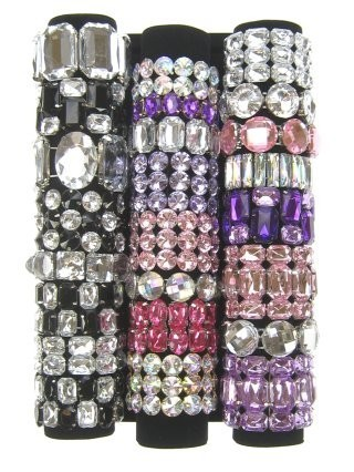 24x Armbanden stras in display luxe
