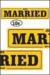 10x Nummerbord karton Just Married geel