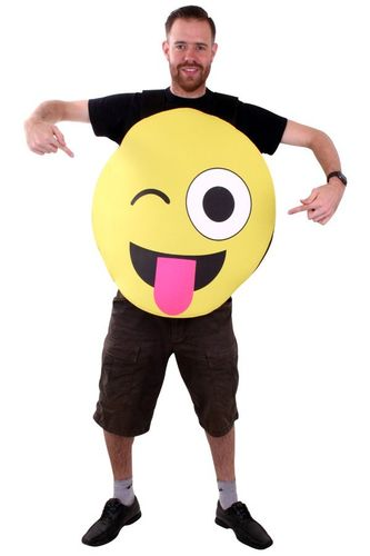 Emoticon smiley met tong kostuum one size
