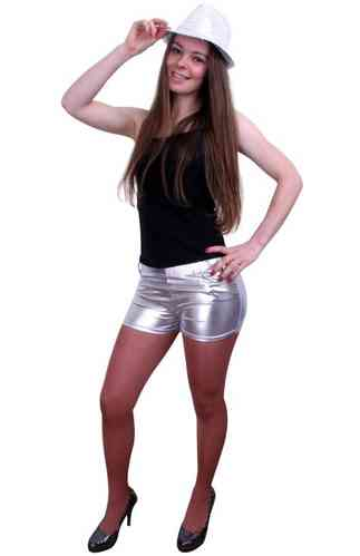 Metallic hotpants zilver mt.XS