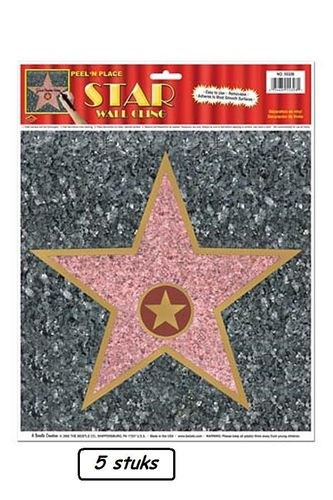 5x Sticker ster WALK OF FAME 30x38 cm