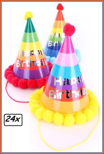 24x Luxe Feesthoedje multicolour Happy Birthday