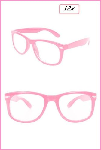 12x Blues brother bril pink met blank glas