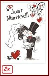 2x Adhesive raamsticker Just Married 35x55