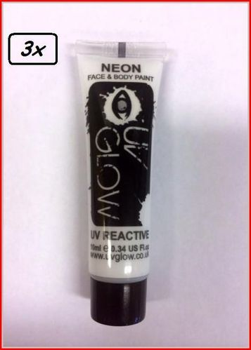 3x Neon Face & Body Paint 10 ml Wit
