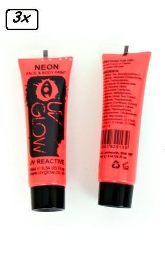 3x Neon Face & Body Paint 10 ml Rood