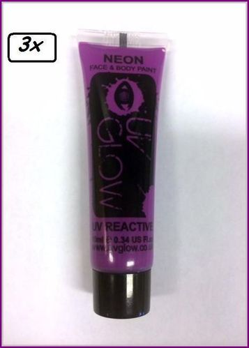 3x Neon Face & Body Paint 10 ml Paars