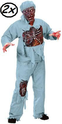 2x Zombie dokter outfit